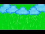 Nuvens 2D com Chuva #2 - 2D Clouds with Rain #2 [Fundo Verde - Green Screen]