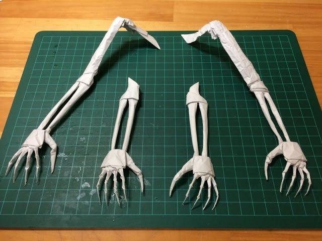 折り紙「手」の折り方 How to make the origami skull hand