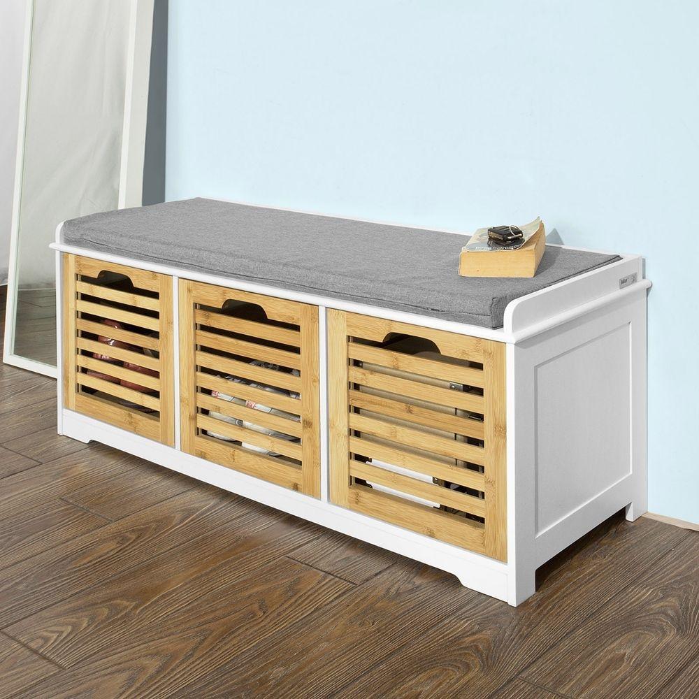 Zapatero banco estanter a de madera con coj n 3 for Zapatero con asiento