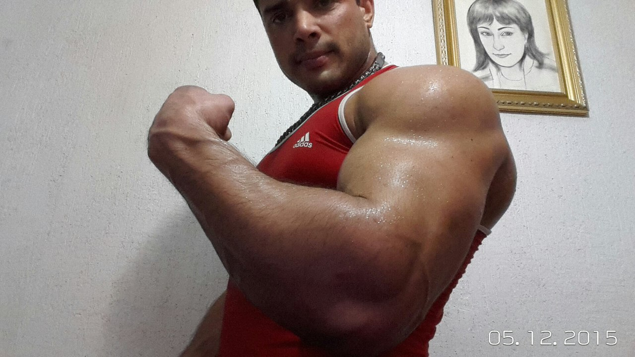 Dmitry Trubin biceps and forearm after workout 05 December 2015 │ Image Source: Dmitry Trubin