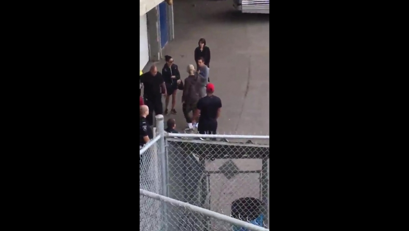 Video of Justin outside Rexall Place in Edmonton, AB