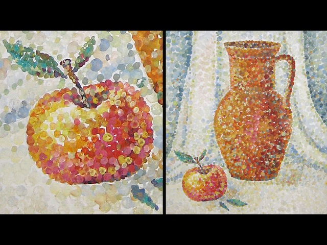 Speed Painting   Still-Life in Technique Pointillism   Gouache   IOTN