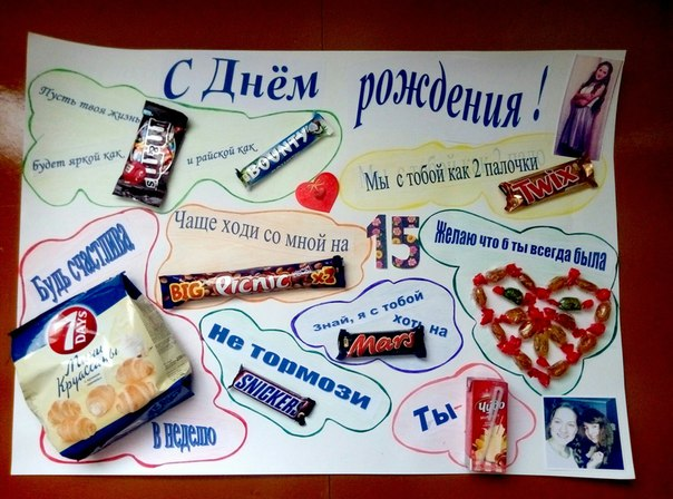 Плакаты на день рождения своими руками мужу со сладостями 75
