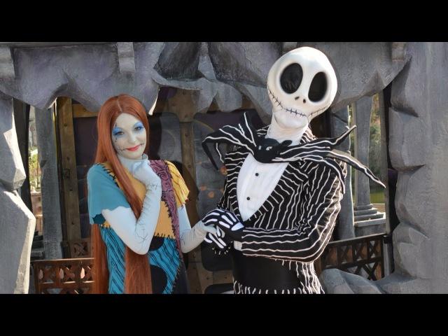 Jack Skellington (Mr. Jack) and Sally with Ghost Dog Zero Meet Greet at Disneyland Paris Cemetery
