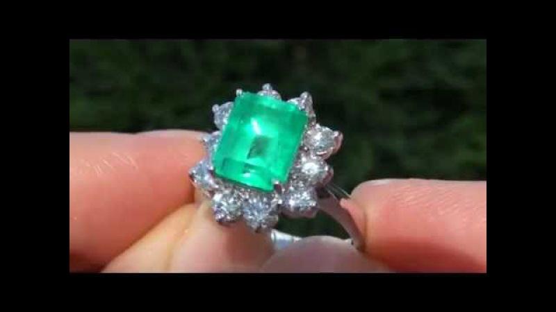 STUNNING Colombian Emerald Diamond Ring Solid 14K Gold - Amazing Gem!