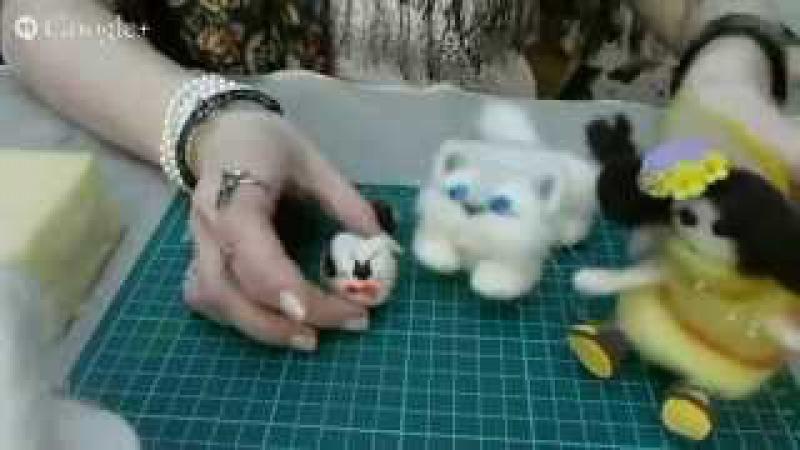 Мастер класс Юлии Глуховой Коты из шерсти, сухое валяние