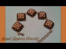 Round Squares Bracelet Beading Tutorial by HoneyBeads1 (with rounduo beads)
