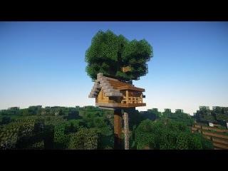 СТАРТОВЫЙ ДОМ В MINECRAFT на дереве