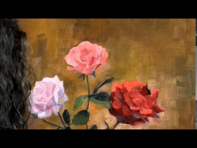 Artist and painter Knut Andre Vikshåland painting still life of wild roses in 8 and a half hours