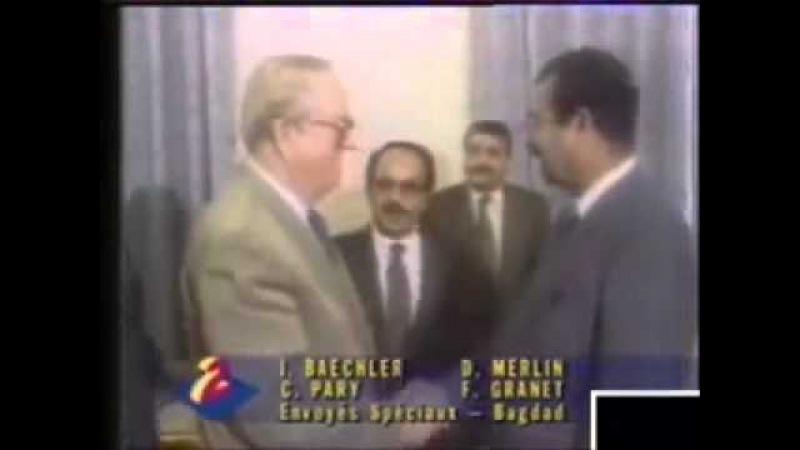 Saddam Hussein reçoit Jean-Marie Le Pen