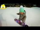 Slow Motion Snowboarding 1 year old Hits the Slopes Like it's no Big Deal