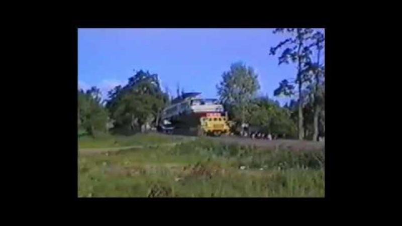 МАЗ-7907 - перевозка речного теплохода на озеро Нарочь - уникальное архивное видео в цвете