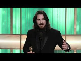 Christian Bale Wins Best Supporting Actor - Golden Globes 2011 / Кристиан Бэйл: победная речь, Золотой глобус 2011