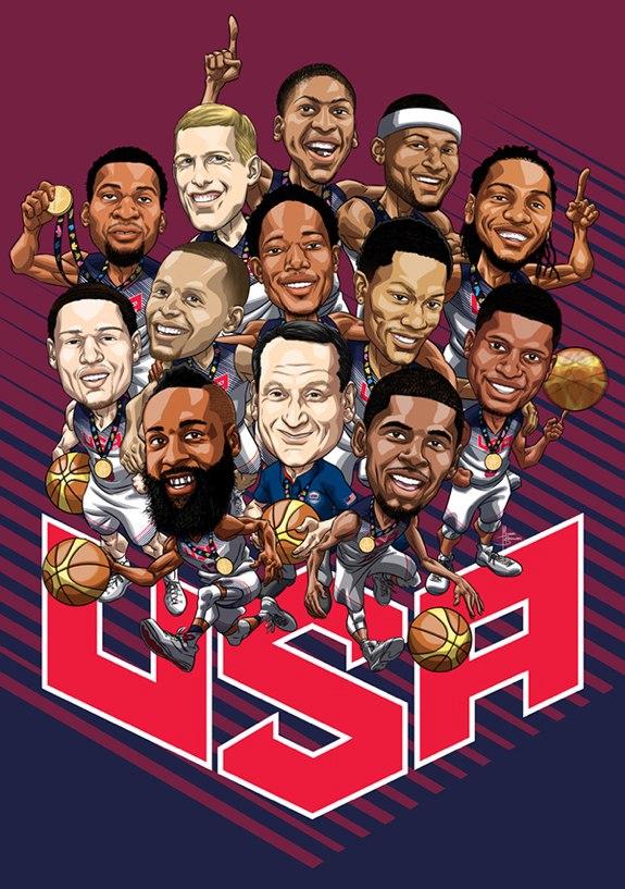 карикатура сборной США по баскетболу