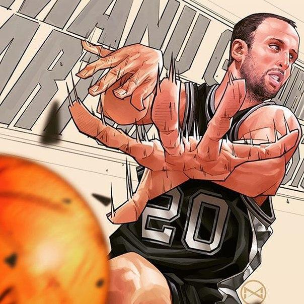 Ману Джинобили рисунок игрок НБА 2016