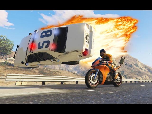 Погоня за байкером Полицейская машина и Купер главные Герои нашего города GTA 5 Взаимная подписка