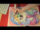 Как рисовать пони Принцесса Селестия (drawing MLP Princess Celestia)