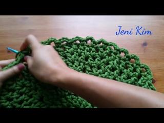 Овальный ковер крючком из шнура 8 ряд Crochet Oval Rug for beginners row 8