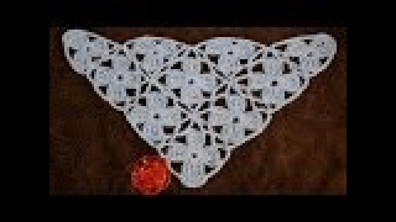 Шаль крючком из цветочных мотивов • Безотрывное вязание • Shawl