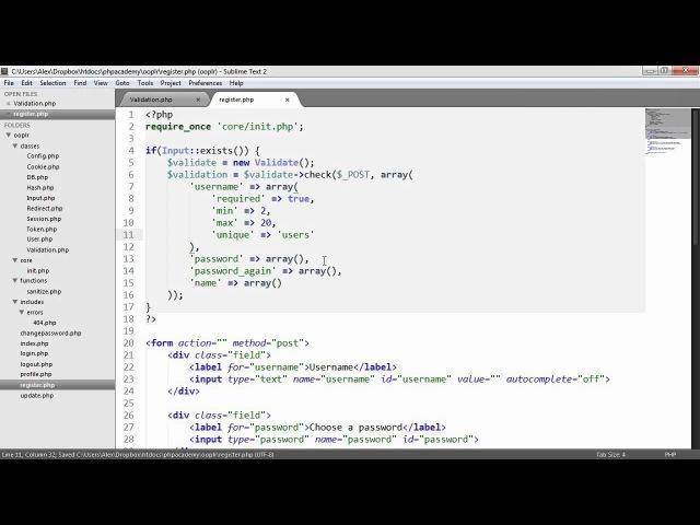 PHP OOP Login/Register System: Form Validation (Part 11/23)