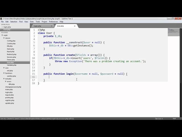 PHP OOP Login/Register System: Log in (Part 16/23)