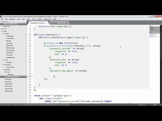 PHP OOP Login/Register System: Changing Password (Part 21/23)