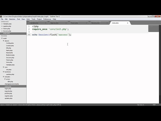PHP OOP Login/Register System: Flashing (Part 13/23)