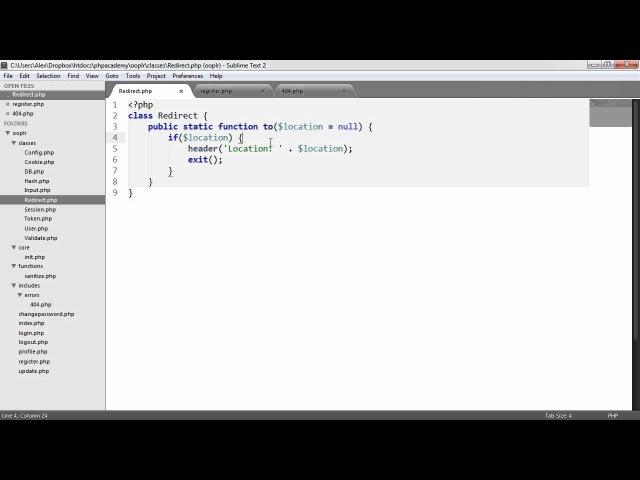 PHP OOP Login/Register System: Redirecting (Part 15/23)