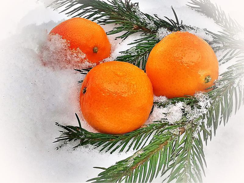 Написать открытке, открытка с мандаринами новогодняя