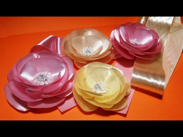 Fabric flowers how to make:elegant satin ribbons flower/Элегантный цветок из атласных лент