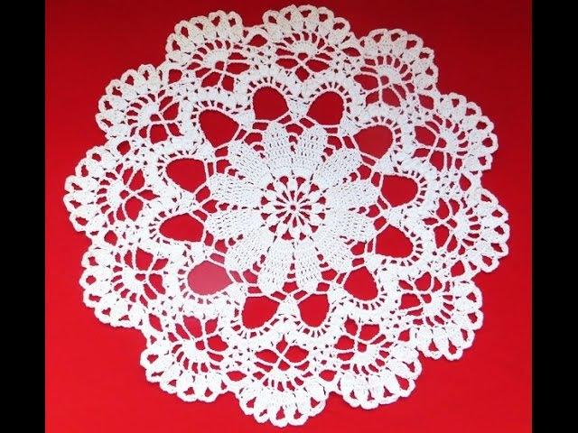 Ажурная салфетка крючком. Часть 2_Delicate doily crochet. Part 2