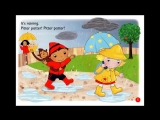 It's raining, its sunny. Pitter patter! Splash! Nursery Rhymes. English for kids. Flash cards