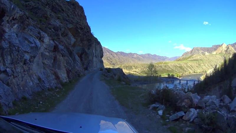 Terrible road in the mountains. Inegen. Siberia, Russia. Горный Алтай, дорога в Инегень (Full HD) (1)