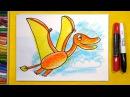 Как нарисовать Динозавра ПТЕРОЗАВРА Урок рисования для детей от 3 лет
