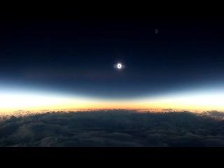 Солнечное затмение с борта самолёта
