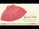 Cómo tejer una capa con cuello en dos agujas o palitos para niñas