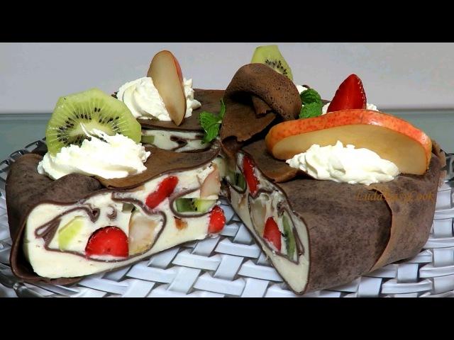 ТОРТ КОЖАНЫЙ Блинный ТОРТ МУСС с фруктами ОЧЕНЬ ВКУСНЫЙ Как приготовить Муссовый Торт С АГАР-АГАР