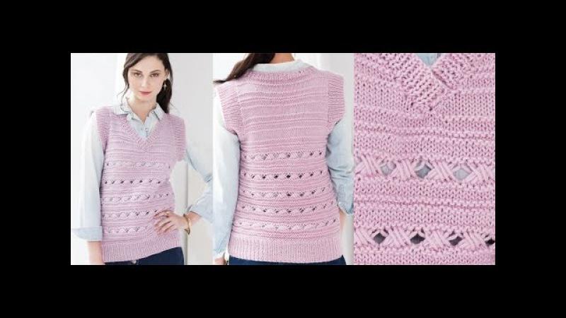 Tutorial for Cross 6 Stitch Pattern, Vest Vogue Knitting Spring/Summer 2016 16