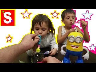 Супер Мыльные пузыри надуваем и играем с Миньоном. Видео для детей 2015