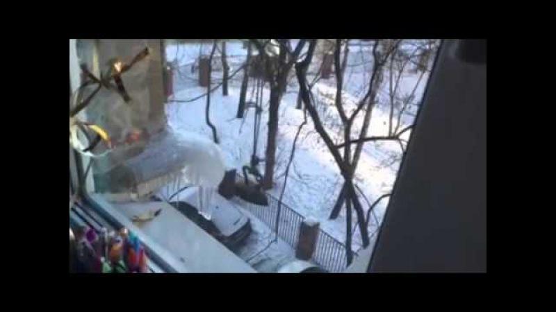 Коммунальщики Филевского парка сбивают сосульки чугунным утюгом