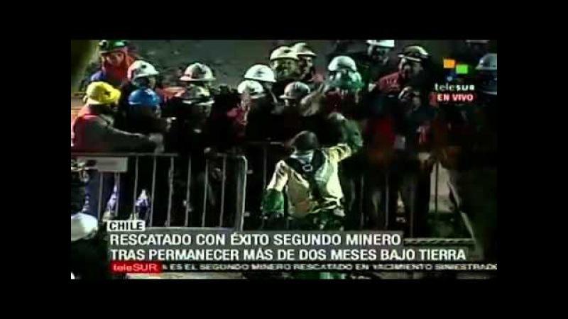 Eufórico salió Mario Sepúlveda, el segundo minero rescatado en Chile