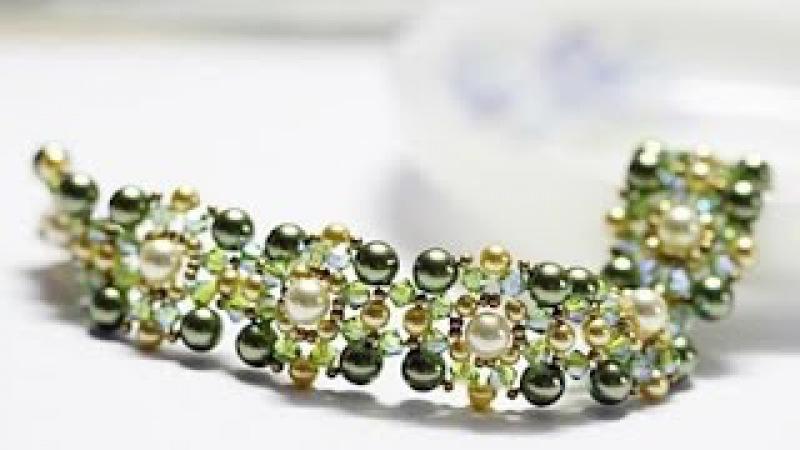 Красивый браслет из бисера и бусин своими руками(Beautiful bracelet with your hands)