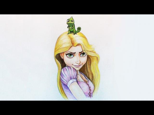 Уроки рисования. Как нарисовать Рапунцель how to draw Rapunzel from Tangled | Art School