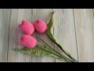 (crochet) How To Crochet Tulips with Leaves - Yarn Scrap Friday