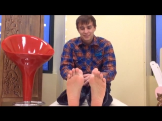Cute Twink Gage shows his Black Socks & Bare Feet