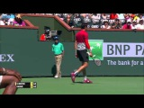 Raonic Stretches For Hot Shot Indian Wells 2016