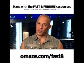 """Актеры """"Форсажа 8"""" приглашают поддержать Фонд им.Пола Уокера и выиграть поездку на съемки фильма."""