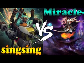 Dota 2 - singsing : Gyrocopter vs Miracle- : Invoker - Ranked Match Gameplay!