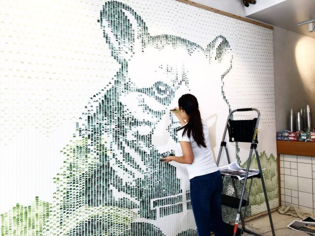 Mural Painting with Celery Stick