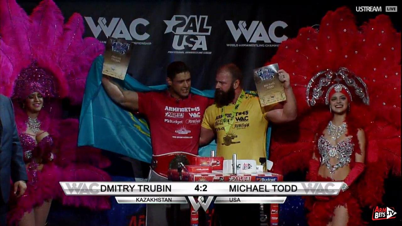 Michael Todd vs. Dmitry Trubin, Armfight 45 Vendetta in Vegas, 26 February 2016 │ Image Source: Armwrestling / Armwrestling / armsportu home